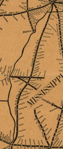 1885 map showing Coleman halfway point